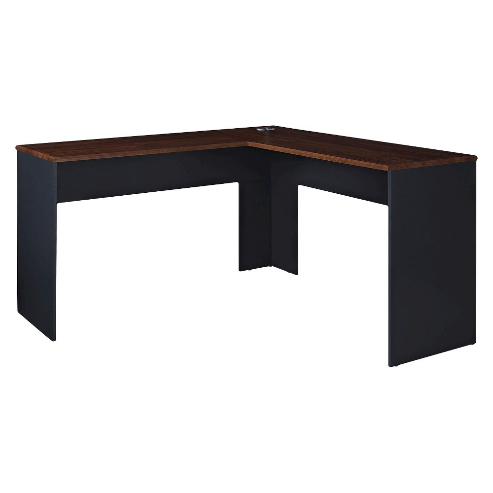 The works contemporary lshaped desk cherry redslate gray