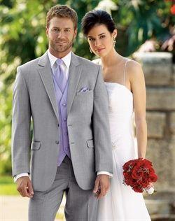 My colors! Gray tuxedos with purple vest/tie for groomsmen