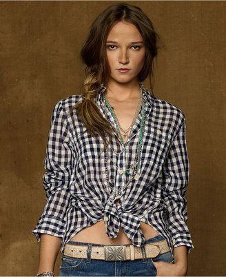 861c892026 Denim Supply Ralph Lauren Top Long Sleeve Gingham Shirt Denim - Supply  Ralph Lauren