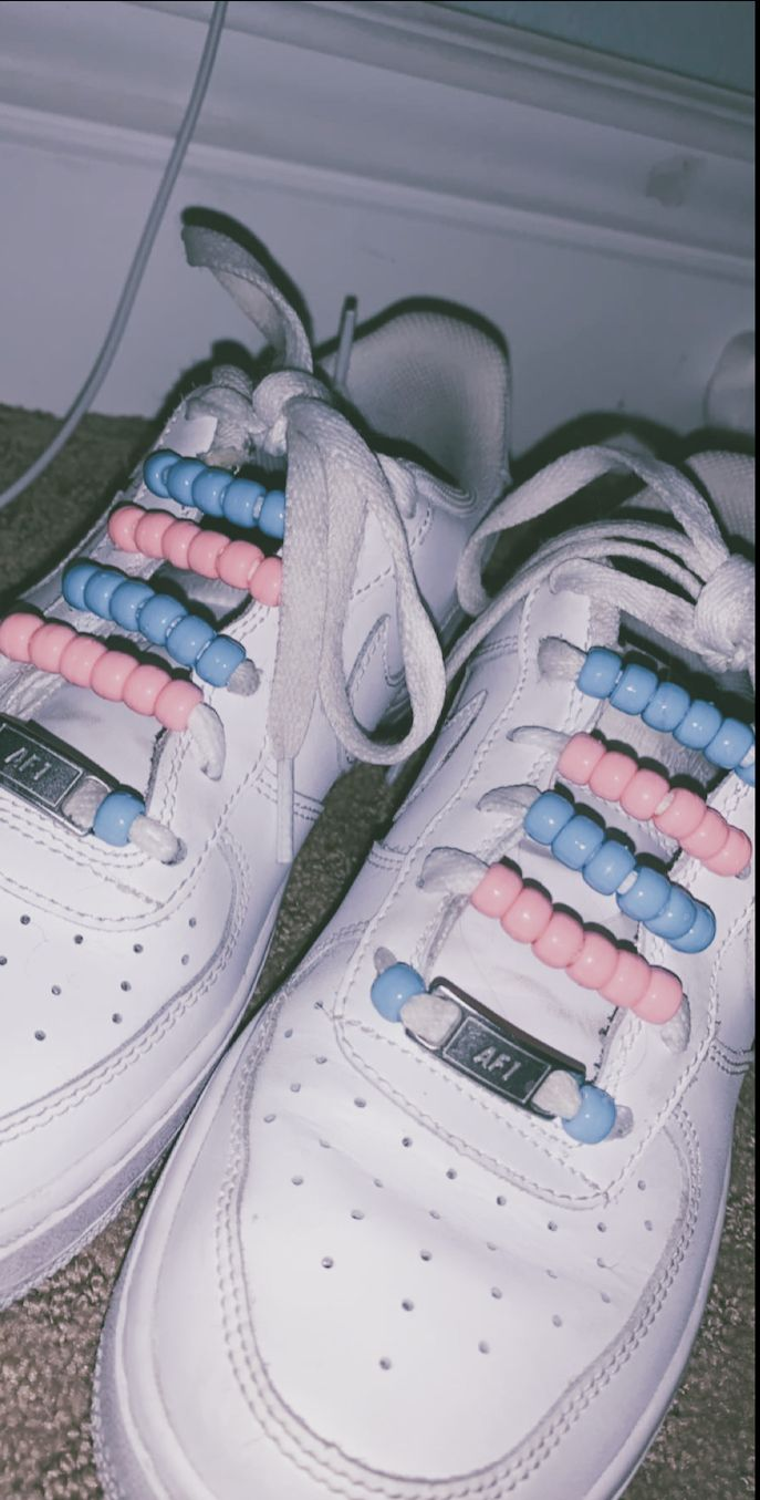 Beads On Shoelaces Af1 In 2020 Aesthetic Shoes Custom Nike Shoes Shoe Laces
