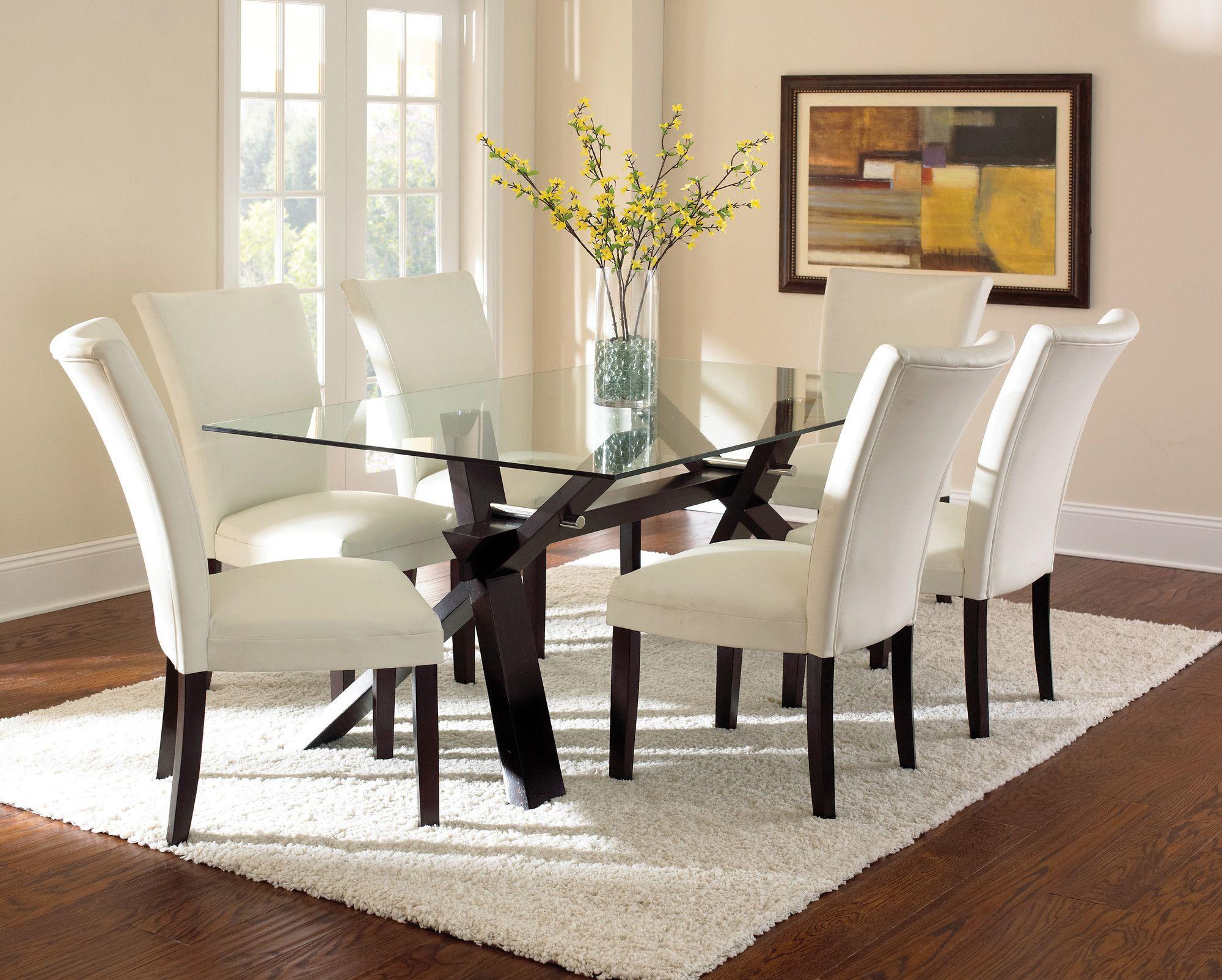 Steve Silver Furniture Berkley 7 Piece Dining Set Glass Dining Room Table Dining Room Sets Glass Kitchen Tables