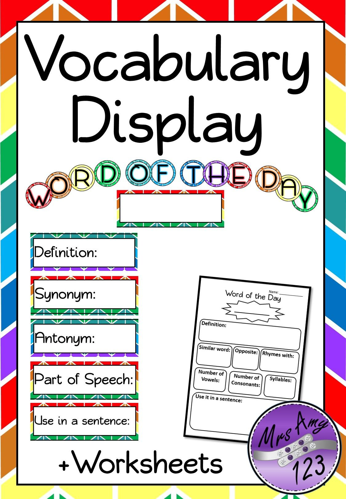 Word Of The Week Day Vocabulary Display Or Activity