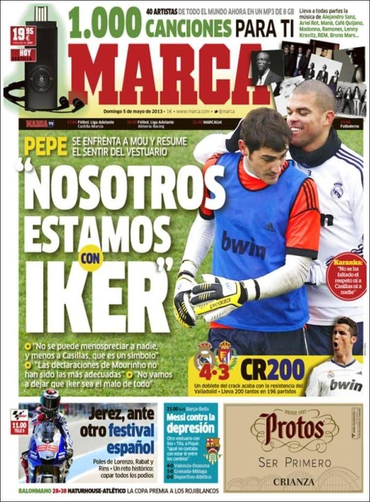 Los Titulares y Portadas de Noticias Destacadas Españolas del 5 de Mayo de 2013 del Diario Deportivo MARCA ¿Que le parecio esta Portada de este Diario Español?