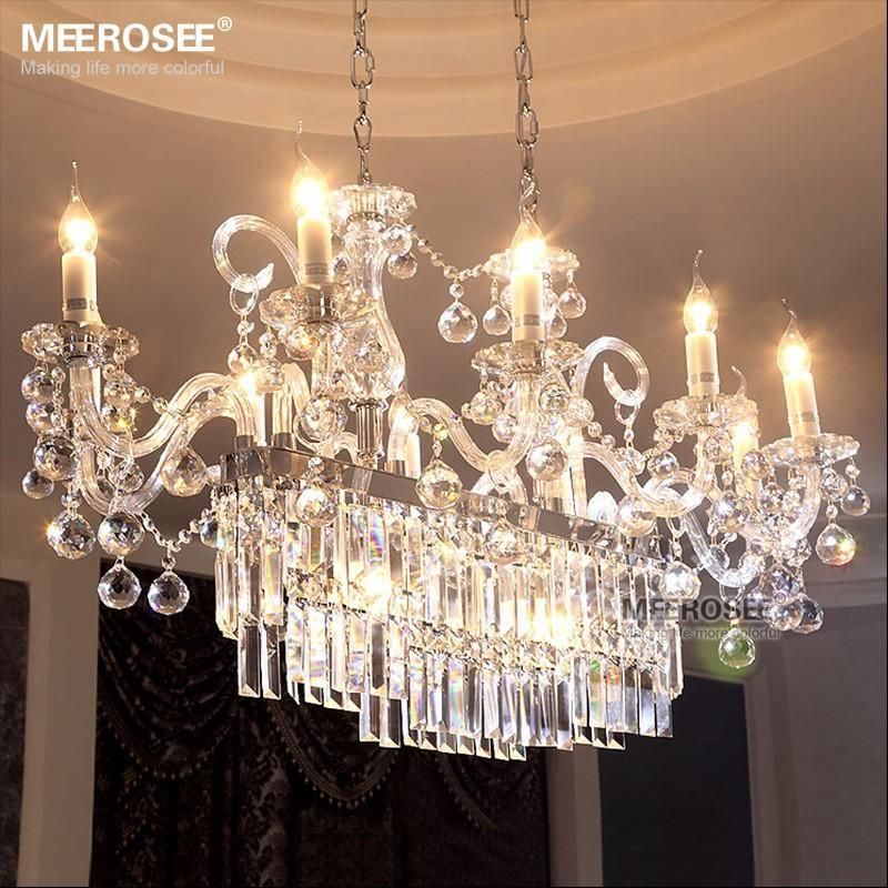 Gorgeous rectangle crystal chandelier light fixture 13 for Comedor gota