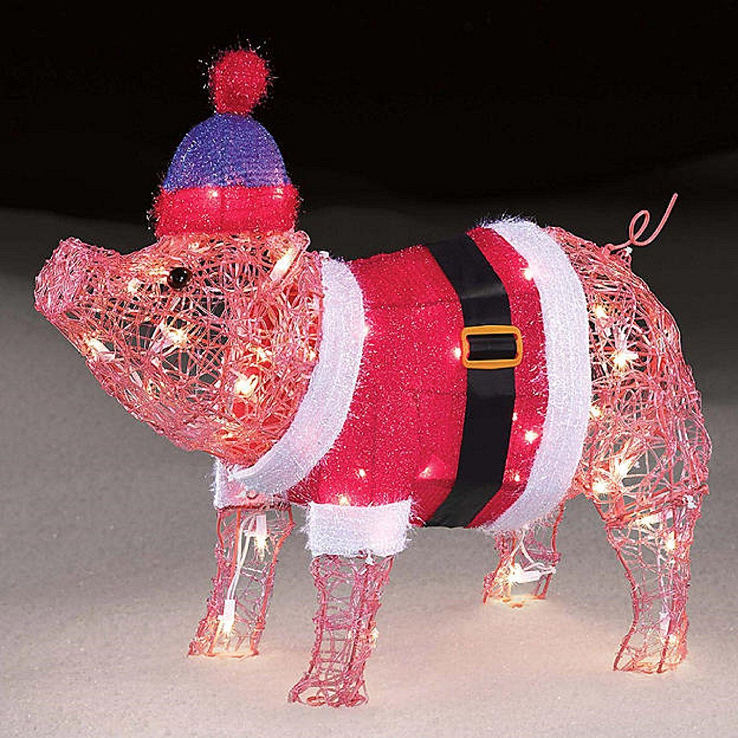 Precious little Holiday 20 inch Pre lit Baby Pig in Santa