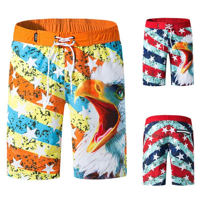 American Flag Eagle Mens Beach Shorts Board Shorts Summer Swim Trunks