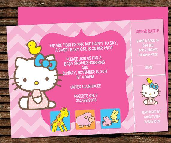 Hello Kitty Baby Shower Invitation Hello Kitty by graphicsmarket