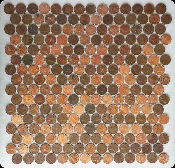 Tile Sheets Of Pennies On Mesh Details