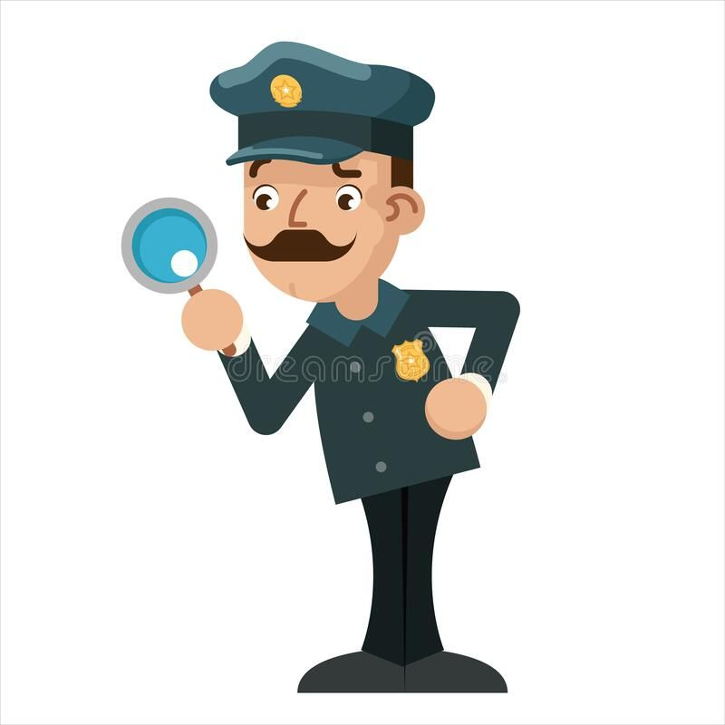 Magnifying Glass Policeman Detective Police Cartoon Flat Design Vector Illustration Magnifying Glass Policeman Dete Vector Illustration Cartoon Cartoon Design