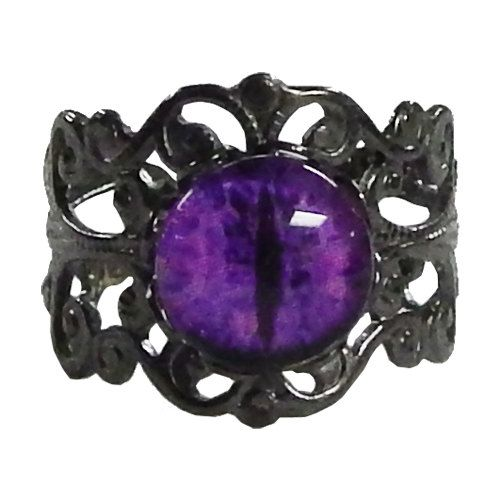 Fiery Purple Dragon Eye Steampunk Ring - Gunmetal Ring with Purple Glass Eye