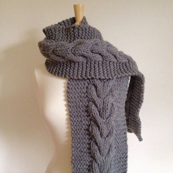 Gray Knit Scarf Gray Cable Scarf Knit Cable Scarf Knit Chunky