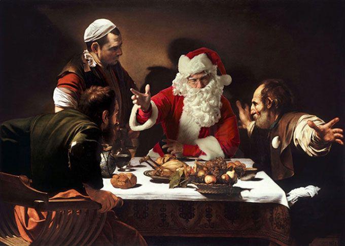 Fotógrafo se veste de Papai Noel e insere-se em famosas obras de arte