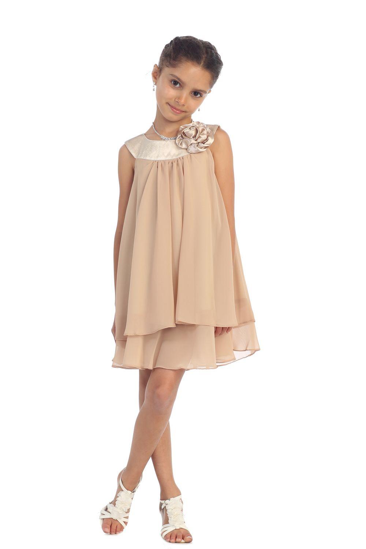 2997da0cbda Madison! Taupe Satin bib necklin   chiffon A-line flower girl dress K255T2   29.95 on www.GirlsDressLine.Com