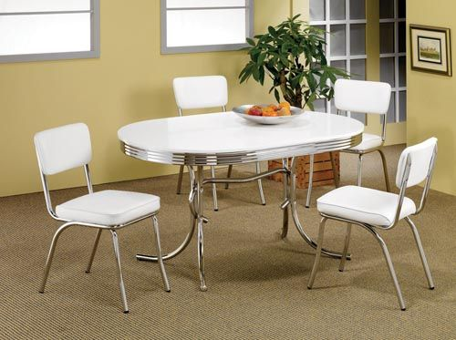 2 Tone Oval Dining Tables And Chairs 50 S Style Chrome Retro Table