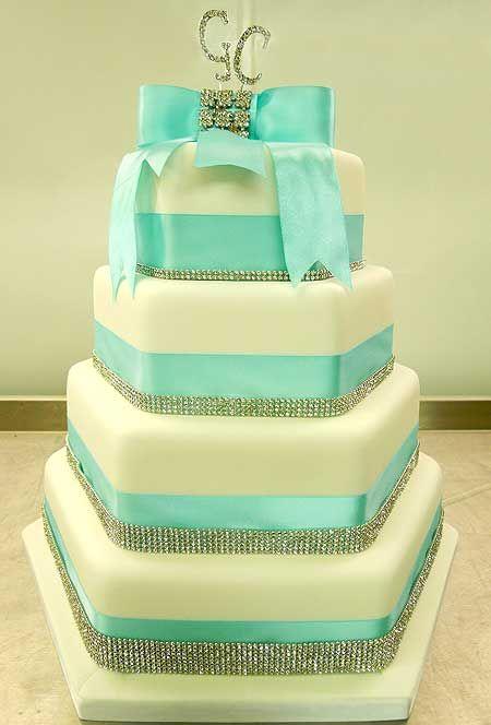 Tiffany Blue Wedding Cake By Genuine Cakes I Like The Sparkle On