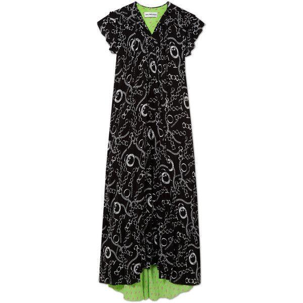 Printed Silk-crepe Midi Dress - Black Balenciaga vhaAOA5