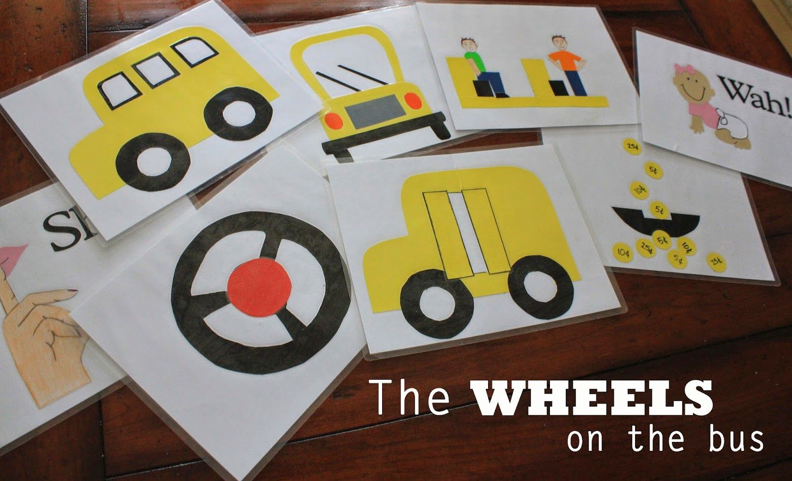 Wheels on the bus sing-a-long cards. Download the cut outs and make them with your kids.