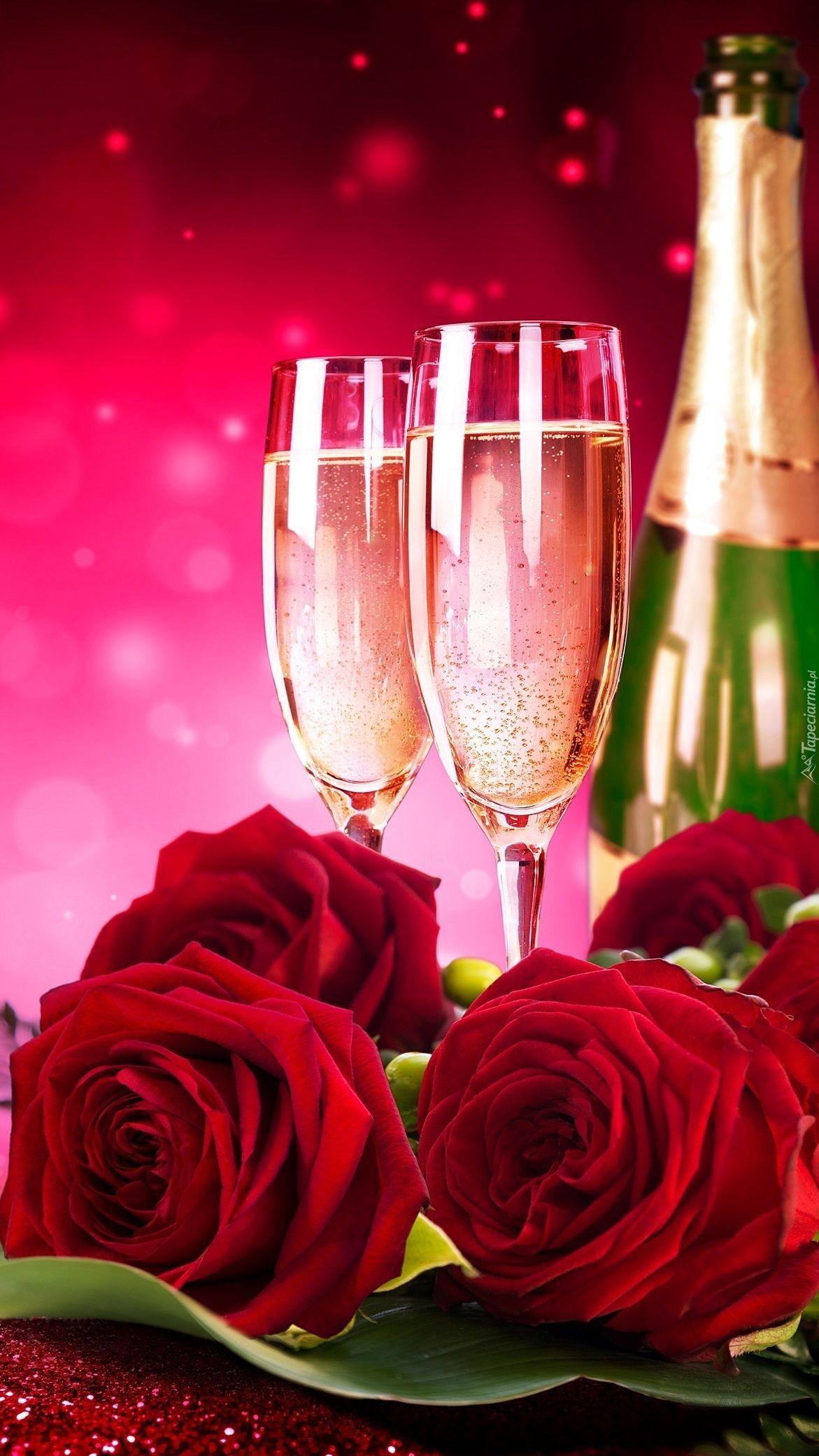 Szampan i czerwone róże - Tapeta na telefon