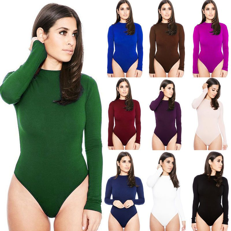 3b4483f70f71 Hot Women Ladies Bodysuit Stretch Leotard Long Sleeve Body Tops T ...