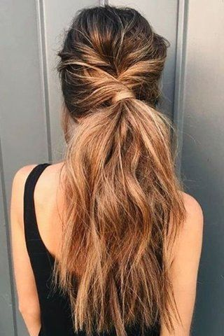 Super Easy Ways To Style Your Messy Hair Hair Styles Long Hair Styles Twist Ponytail
