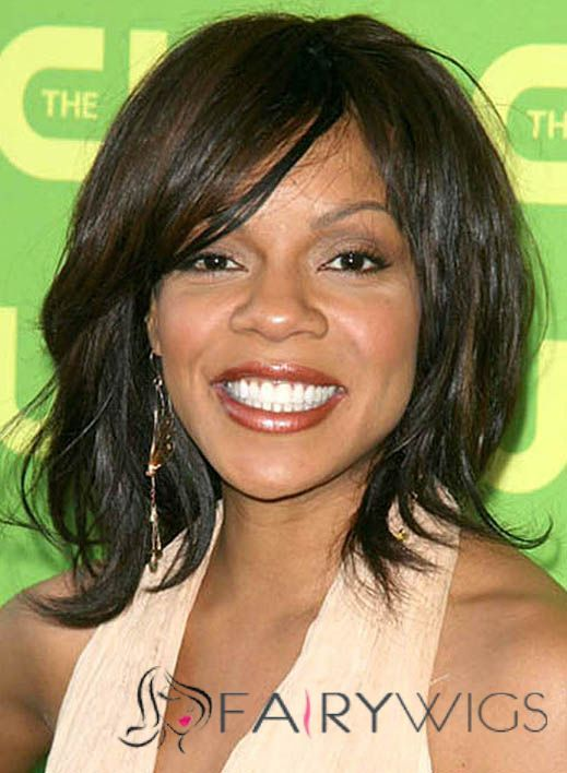Ture Wendy Raquel Robinson Medium Wavy Capless Human Wigs for Black Women aec31a33d