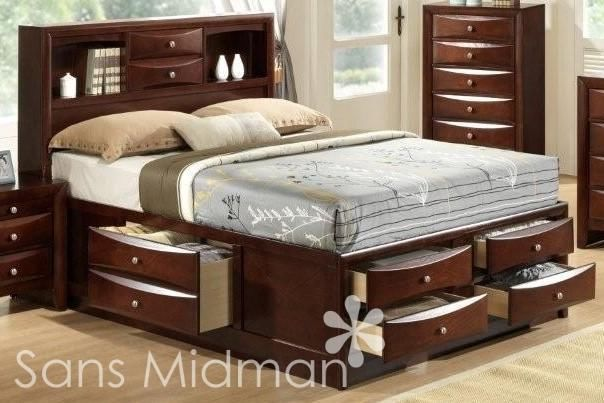 Details About White 3 Piece Storage Drawers Twin Bed Box: NEW Furniture! Echo Collection Espresso Storage Queen Bed