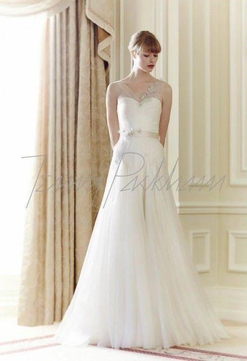 vestido de novia corte princesa con tirantes transparentes y