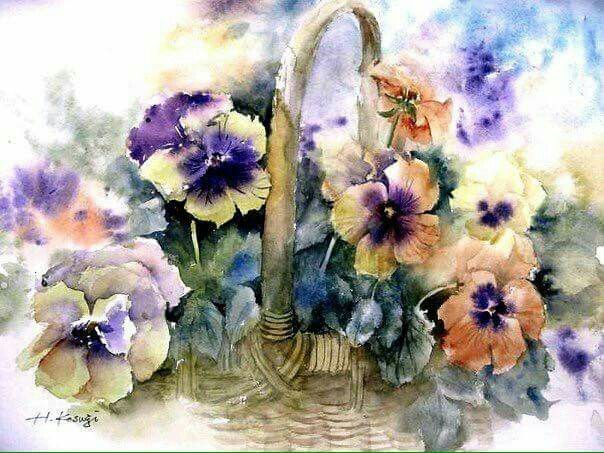 Watercolor Painting Flowers Pansies Basket Bouquet Watercolor