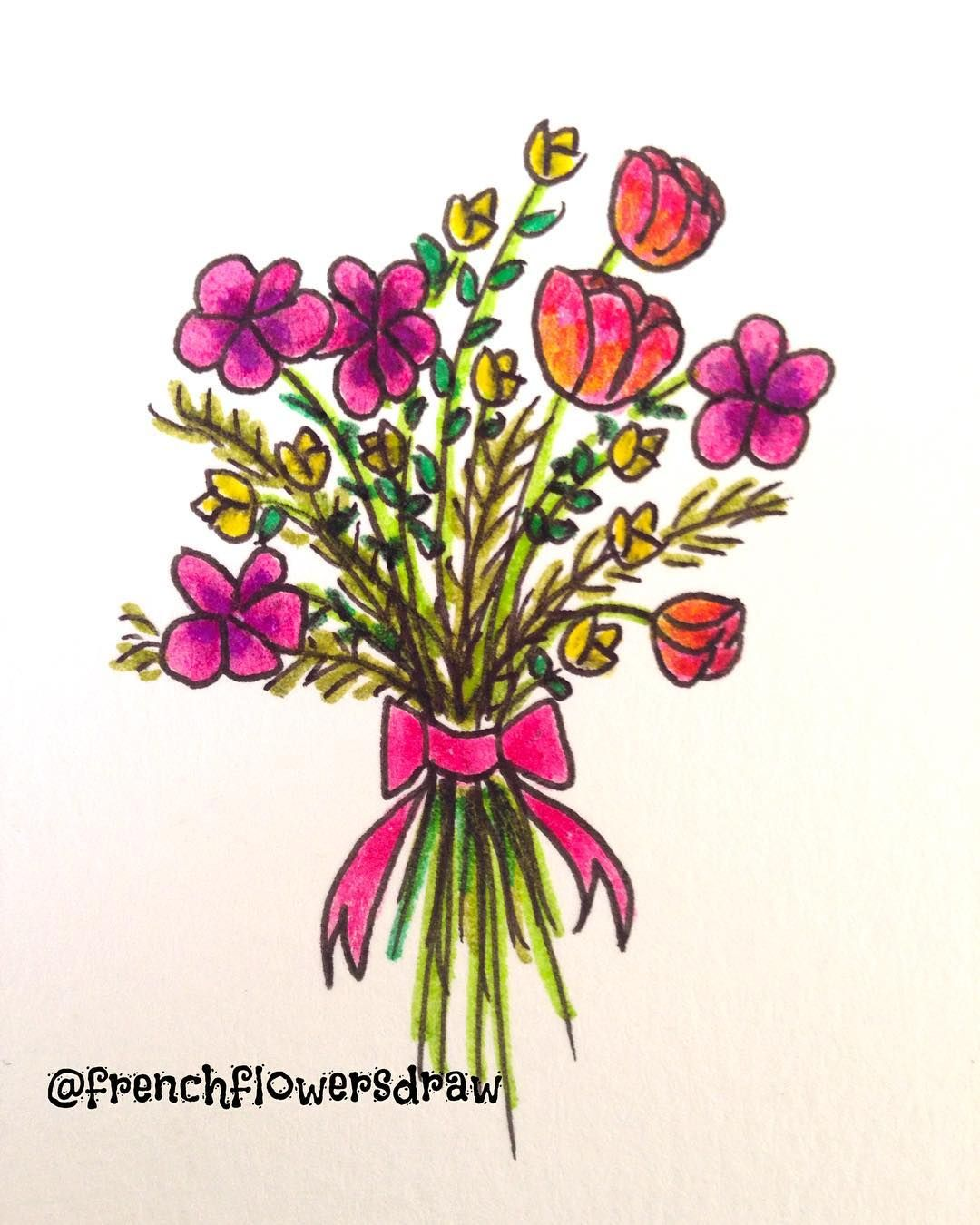 Fleurs De Printemps Draw Drawing Illustration