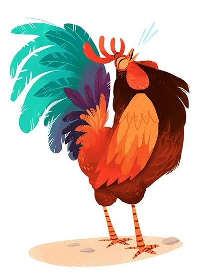Chicken roosters hens chickens artistic renditions in 2019 illustration dessin art - Poulet dessin ...