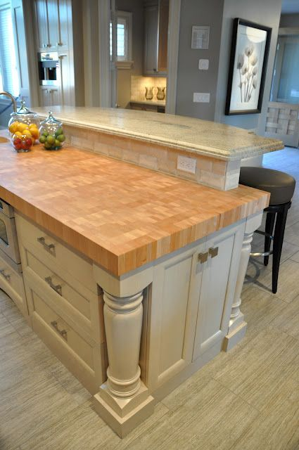 Thick Butcher Block Countertop For The Island Via House Of Fifty Blog