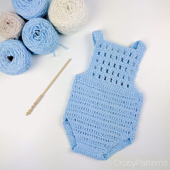 Download Baby Romper Blue Orchid 0-3 Months Crochet Pattern (FREE)
