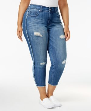 16e68002d4 Melissa McCarthy Seven7 Trendy Plus Size Ripped Skinny Jeans - Blue ...