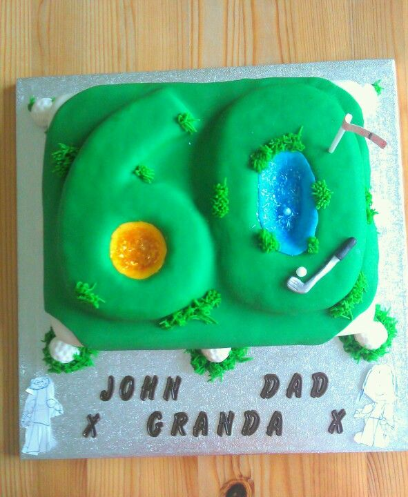 Fondant Cake Designs For 60th Birthday : Dad s 60th birthday, golf cake. First time using fondant ...