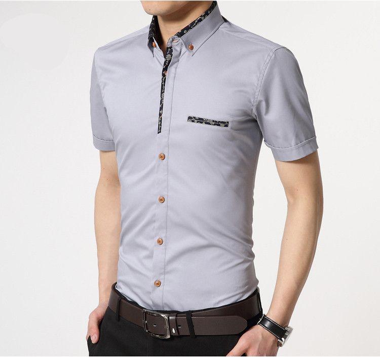 a8a1c977e Aliexpress.com  Comprar   a   M   Mens camisas de vestir 2016 nueva hombres  camiseta Slim Fit Formal manga corta marca moda elegante 100% algodón  camisetas ...