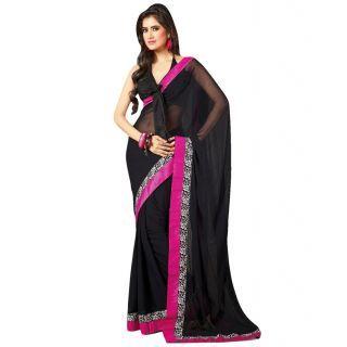 c795e8f18d8 Bhuwal Fashion semi chiffon black colour saree -C more