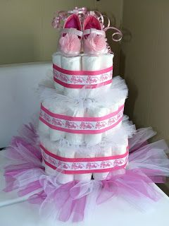 The diaper cake I made for my sister's baby shower #babyshower #diapercake #babygirl