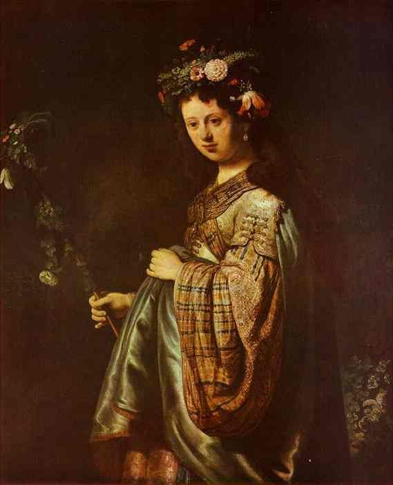 Saskia as Flora, Oil by Rembrandt Van Rijn (1606-1669, Netherlands)