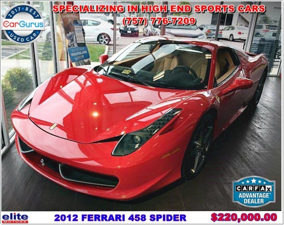 Used 2012 Ferrari 458 Spider Pinifarina Design Near Virginia Beach