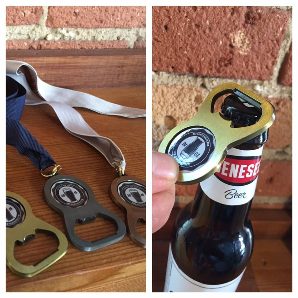 Cracking open a Gennese with a Brew Run Series top finisher medal. All participants will receive a Brew Run Series T-Shirt, but only the top 3 finishers will be lucky enough to get one of these!! We are days away from the Tap it Forward 5k, have you registered yet?  www.brewrunseries.com