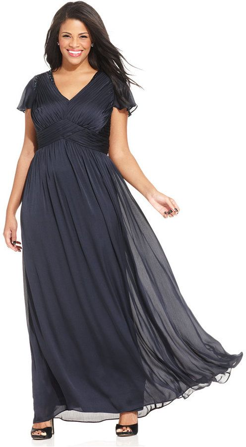 Adrianna Papell Plus Size Flutter-Sleeve Pleated Gown on ...
