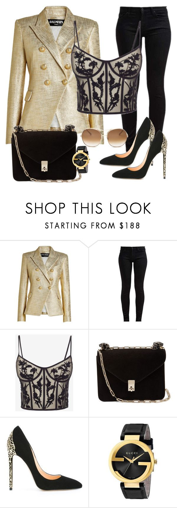 """""""Party"""" by chrissy-50 ❤ liked on Polyvore featuring Balmain, 7 For All Mankind, Alexander McQueen, Valentino, Cerasella Milano, Gucci and Chloé"""