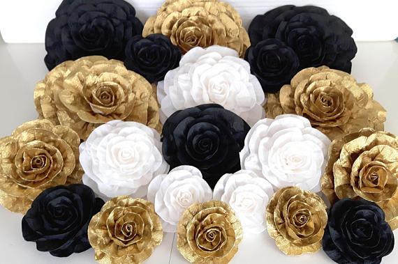 12 Large Paper Flowers Gold Black White Nursery Wall Decor Weding