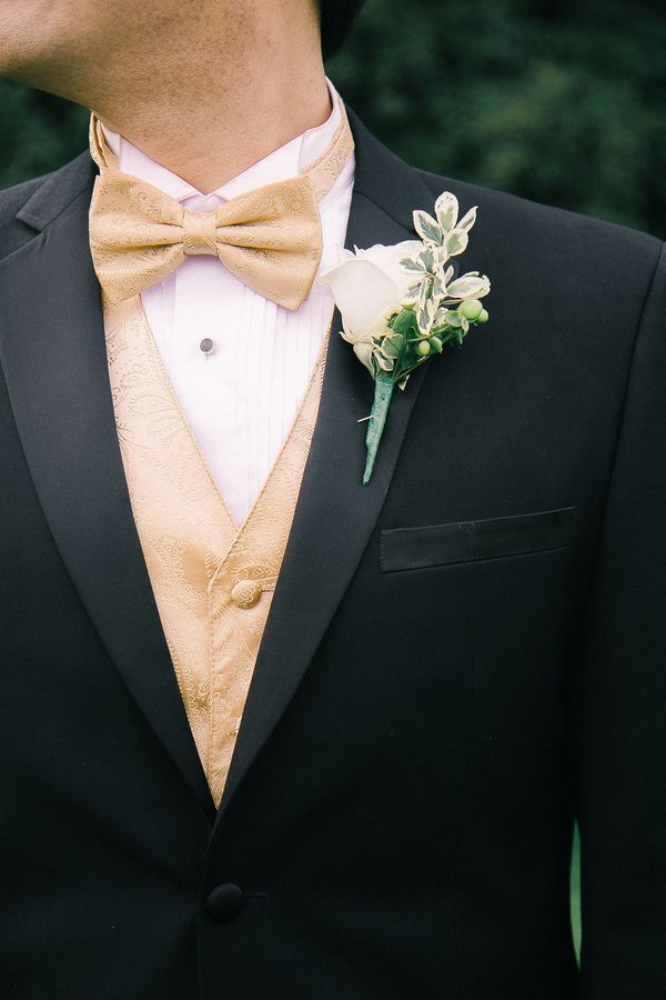 Groomsmen Can Rock A Gold Bow Tie And Vest