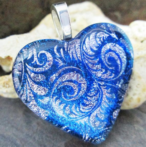 BLUE TAPESTRY Fused Dichroic Glass Heart by firedglassart on Etsy, $24.00