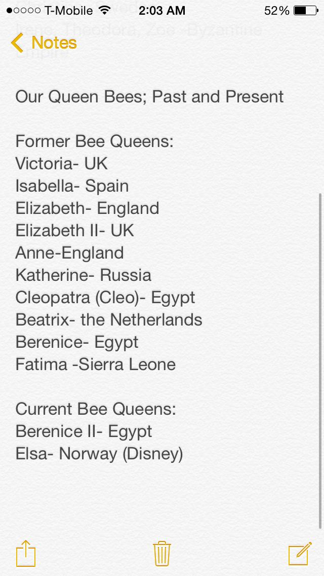 List of our past and present queen bee names