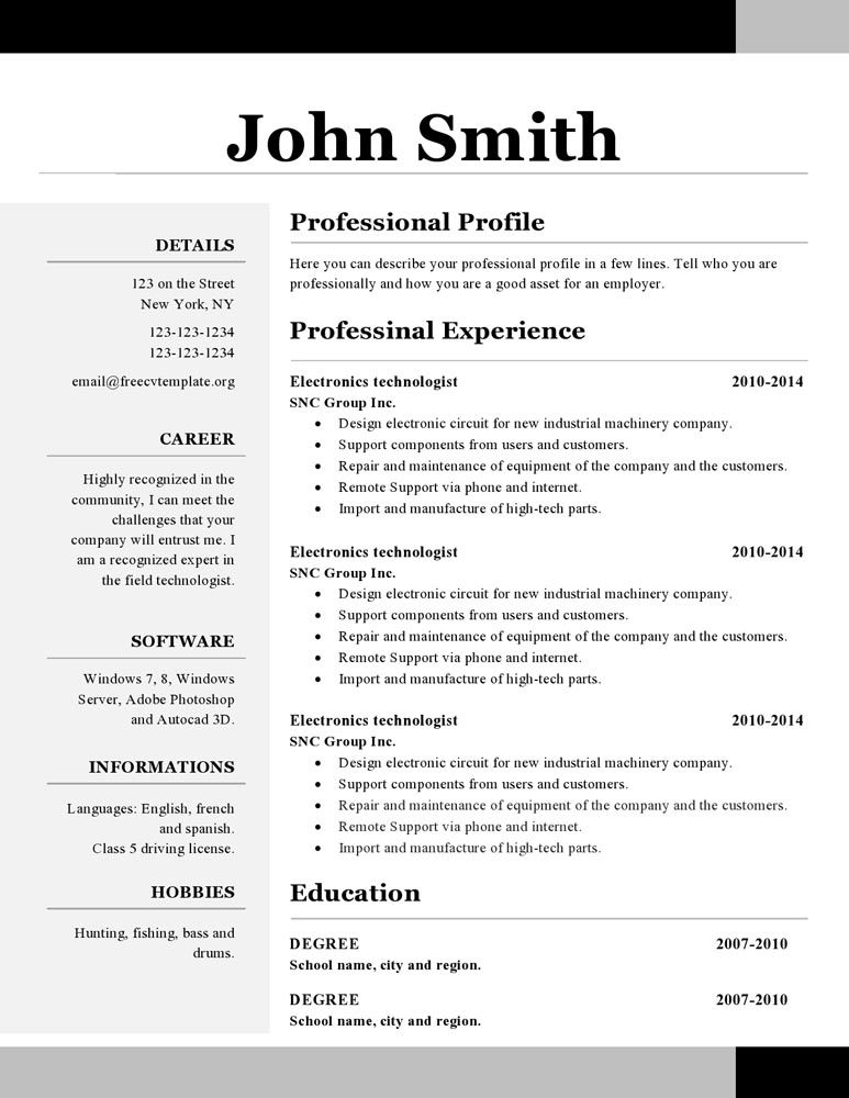 Cv Template Open Office Resume template free, One page