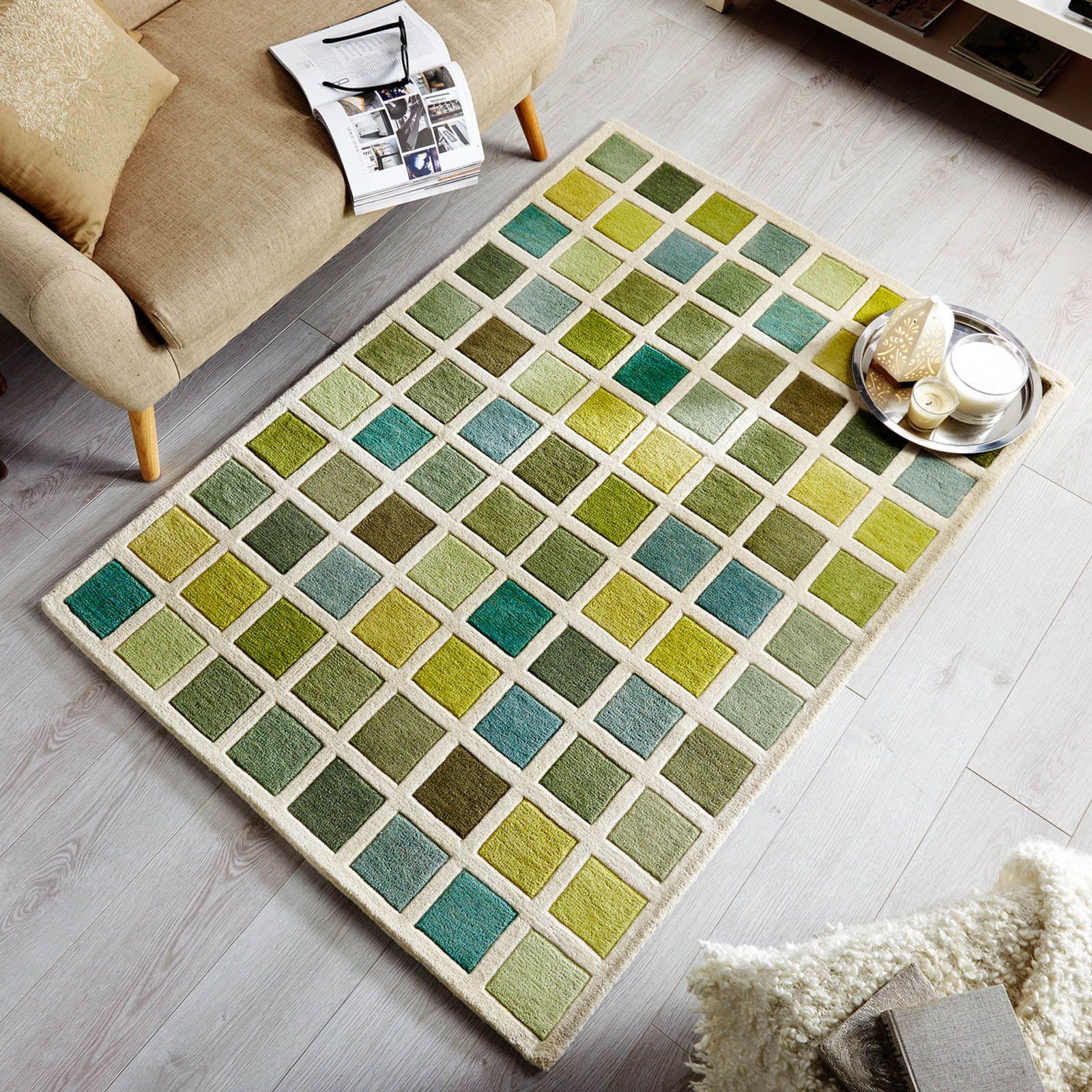 Illusion Campari Rugs In Green And Cream