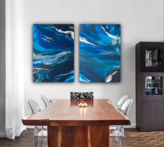 Resin Wall Art Stormy Ocean Diptych App 2 X 40 X 60 Cm Etsy Resin Wall Art Living Room Art Diptych