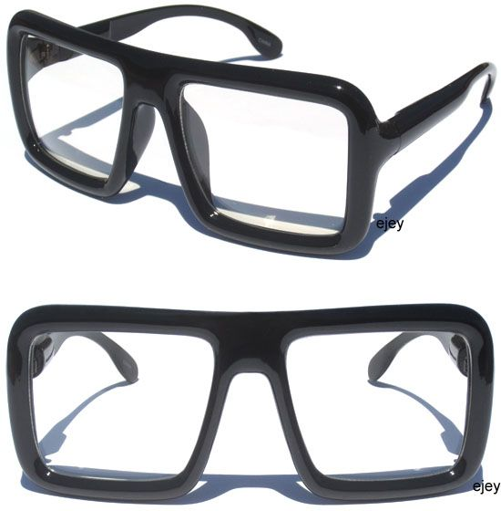 7455ba9546 BIG OVERSIZE Flat Top Thick BLACK SQUARE Frame Clear Lens Hipster ...